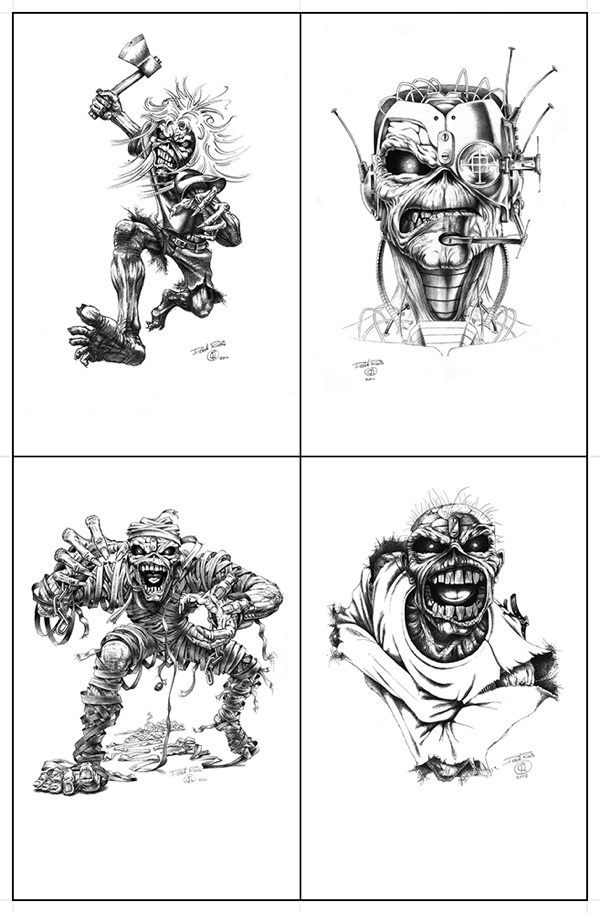 Four of the many faces of Iron Maiden mascot Eddie
